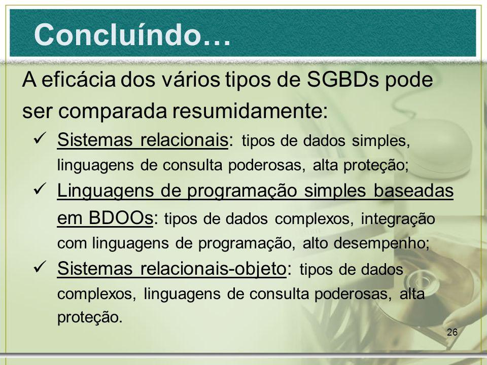 Concluíndo… A eficácia dos vários tipos de SGBDs pode ser comparada resumidamente: