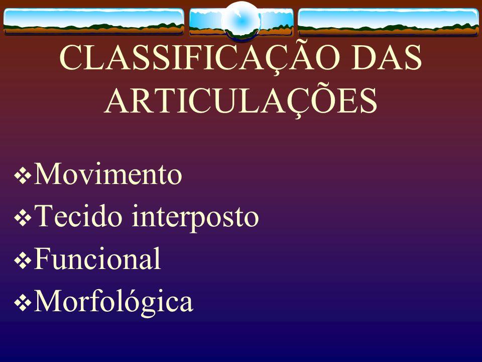 CLASSIFICAÇÃO DAS ARTICULAÇÕES