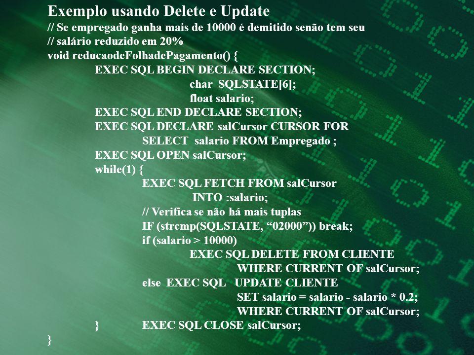Exemplo usando Delete e Update