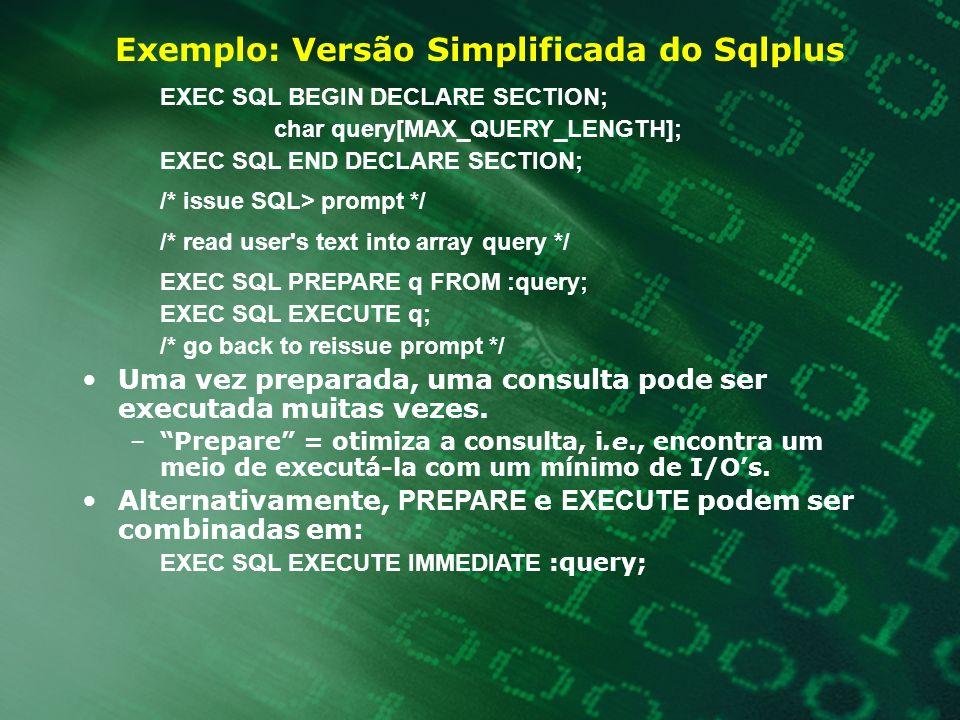 Exemplo: Versão Simplificada do Sqlplus