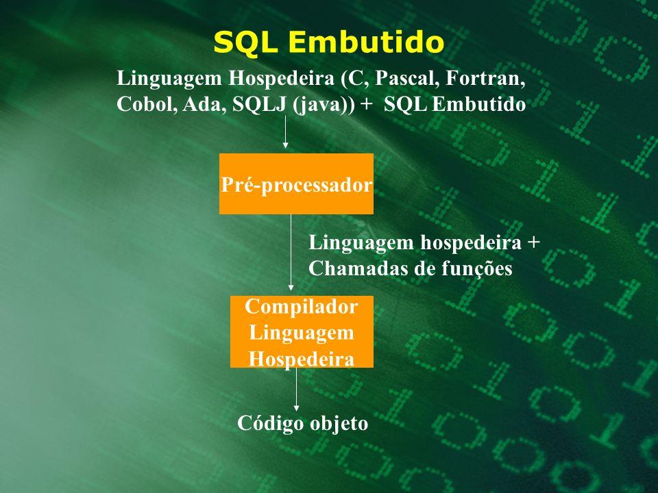 SQL Embutido Linguagem Hospedeira (C, Pascal, Fortran,