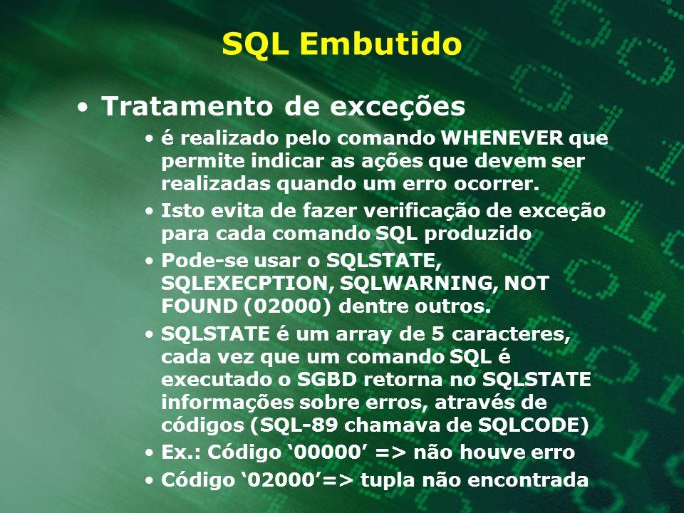 SQL Embutido Tratamento de exceções