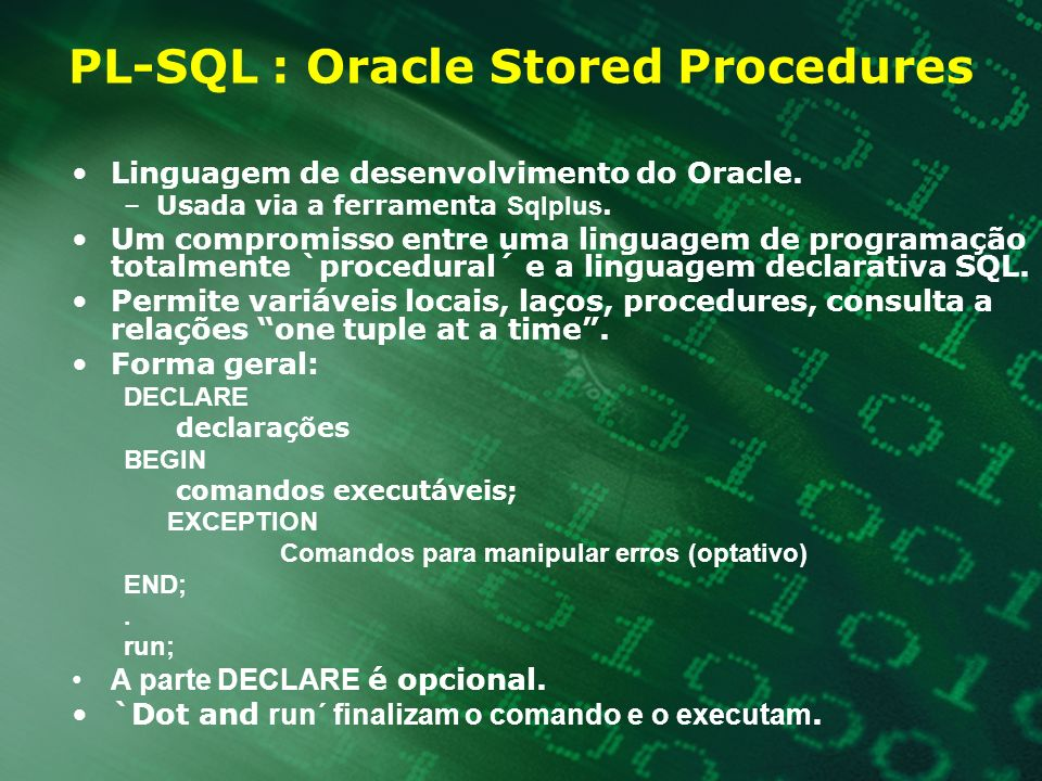 PL-SQL : Oracle Stored Procedures
