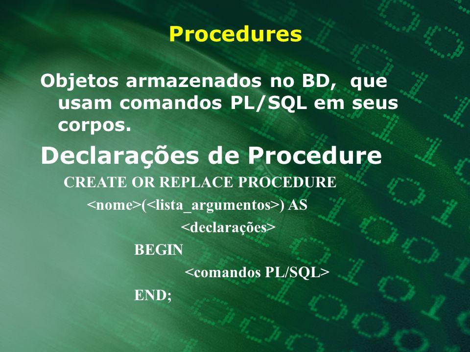 Declarações de Procedure