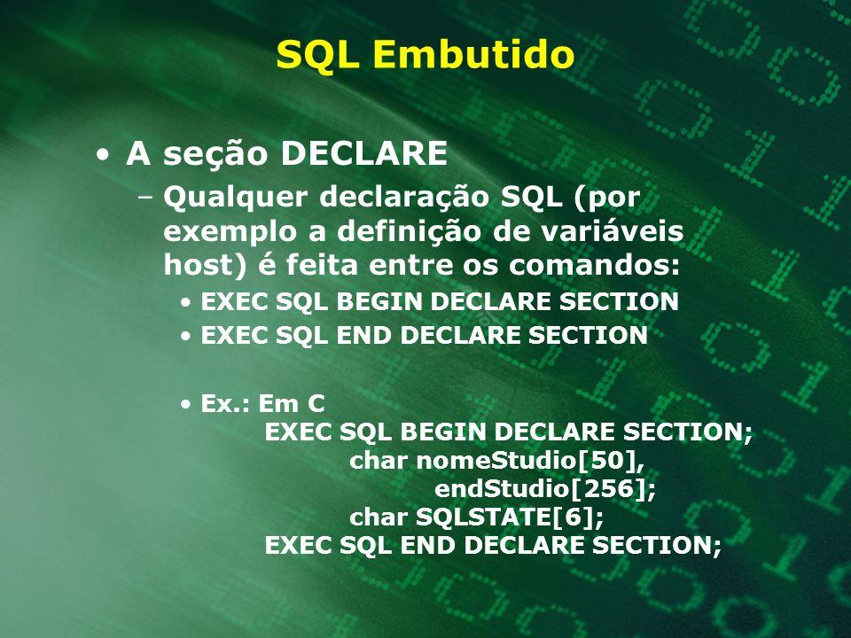 SQL Embutido A seção DECLARE