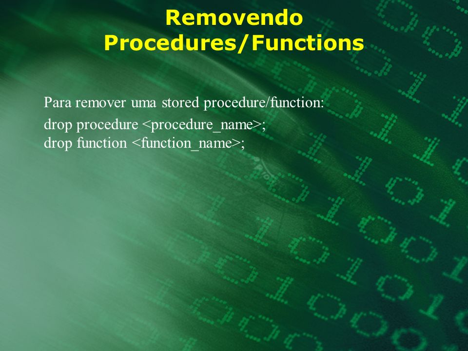 Removendo Procedures/Functions