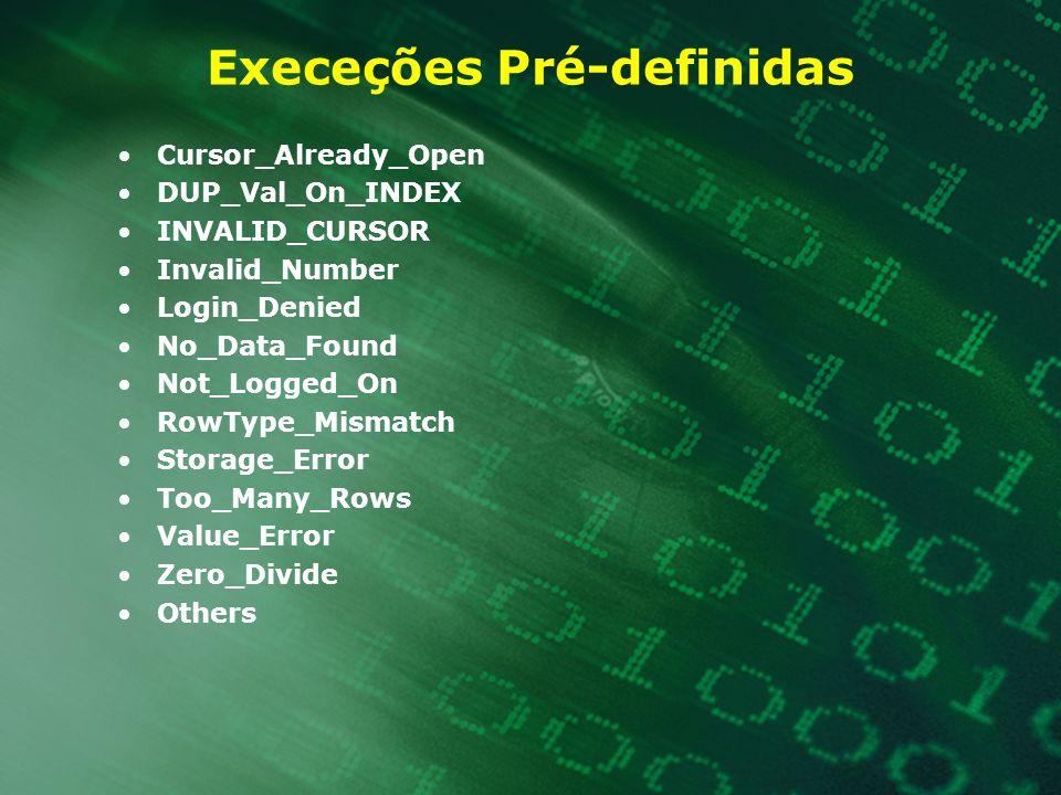 Execeções Pré-definidas