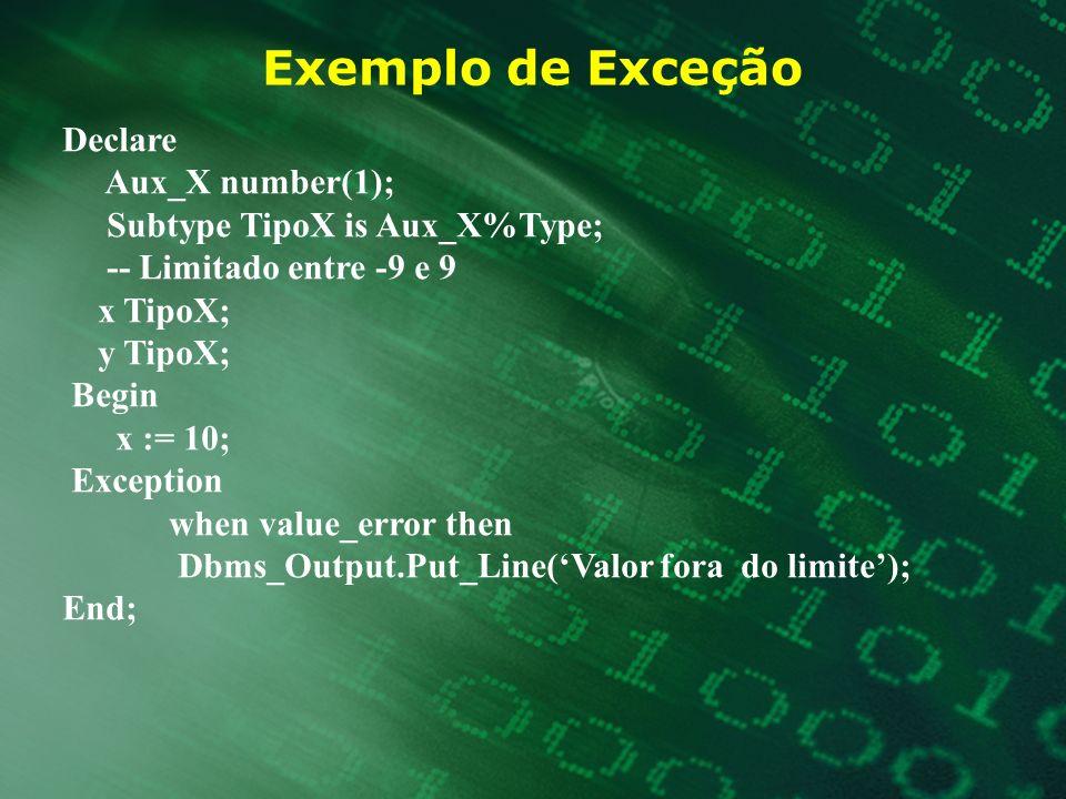 Exemplo de Exceção Declare Aux_X number(1);