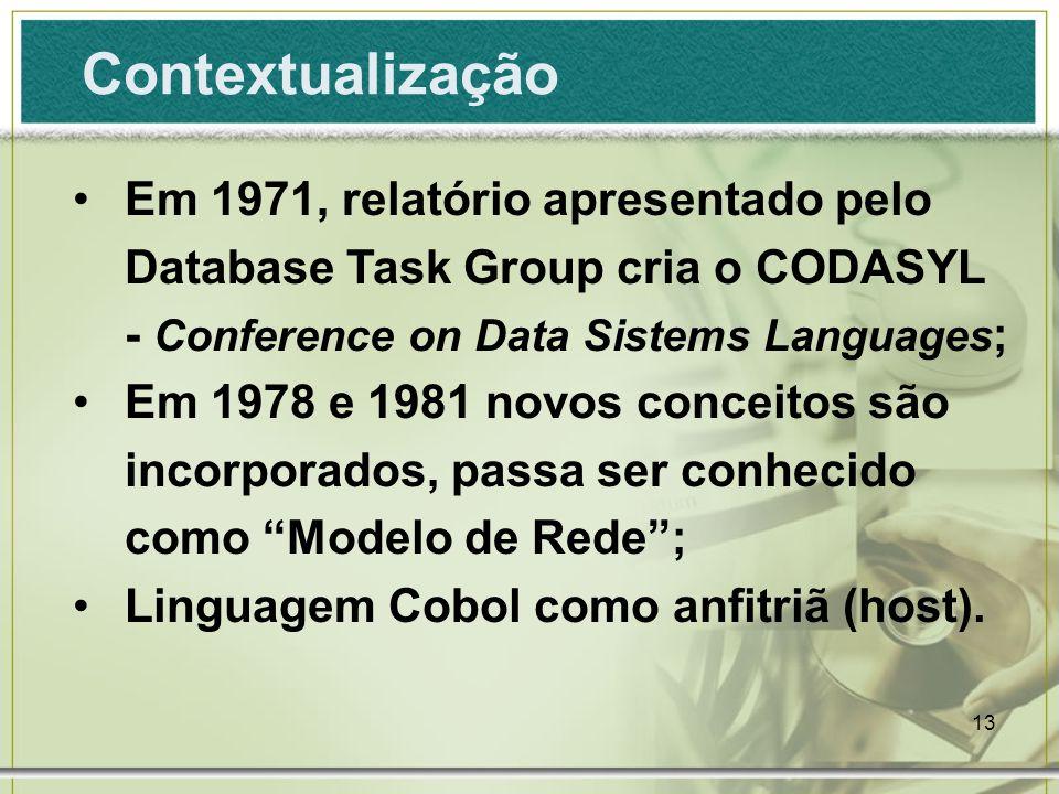 Contextualização Em 1971, relatório apresentado pelo Database Task Group cria o CODASYL - Conference on Data Sistems Languages;