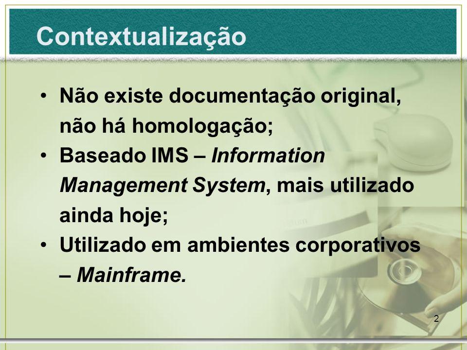 Contextualização Não existe documentação original, não há homologação;