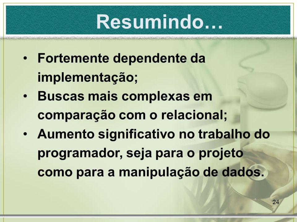 Resumindo… Fortemente dependente da implementação;