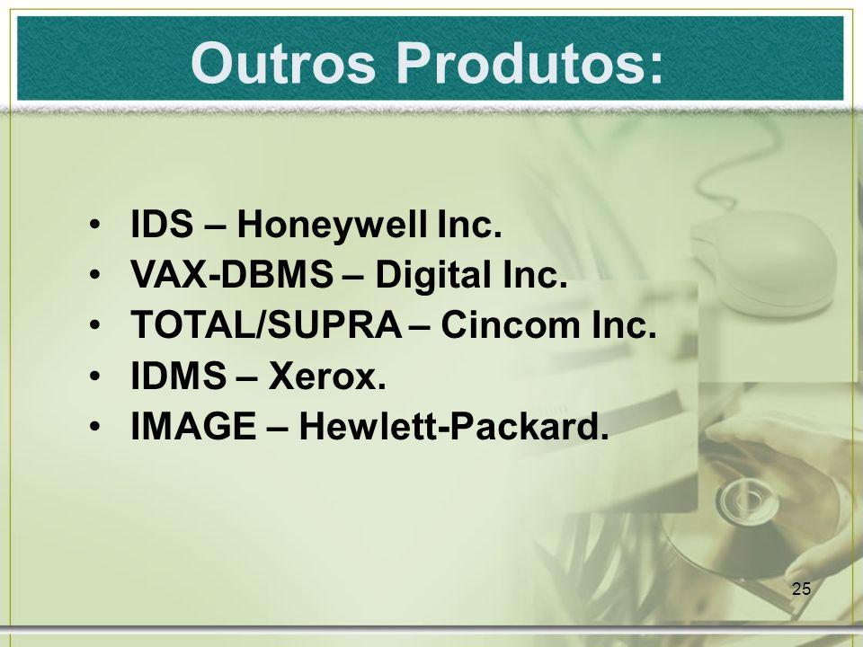 Outros Produtos: IDS – Honeywell Inc. VAX-DBMS – Digital Inc.