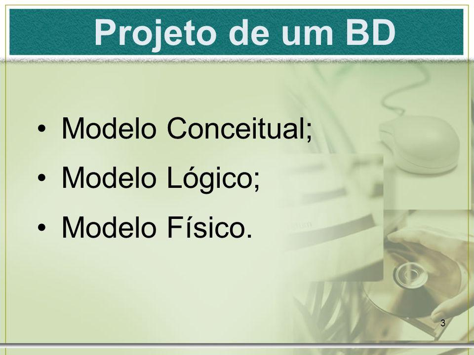 Projeto de um BD Modelo Conceitual; Modelo Lógico; Modelo Físico.