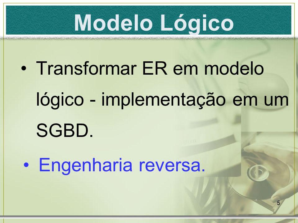 Modelo Lógico Transformar ER em modelo lógico - implementação em um SGBD. Engenharia reversa.
