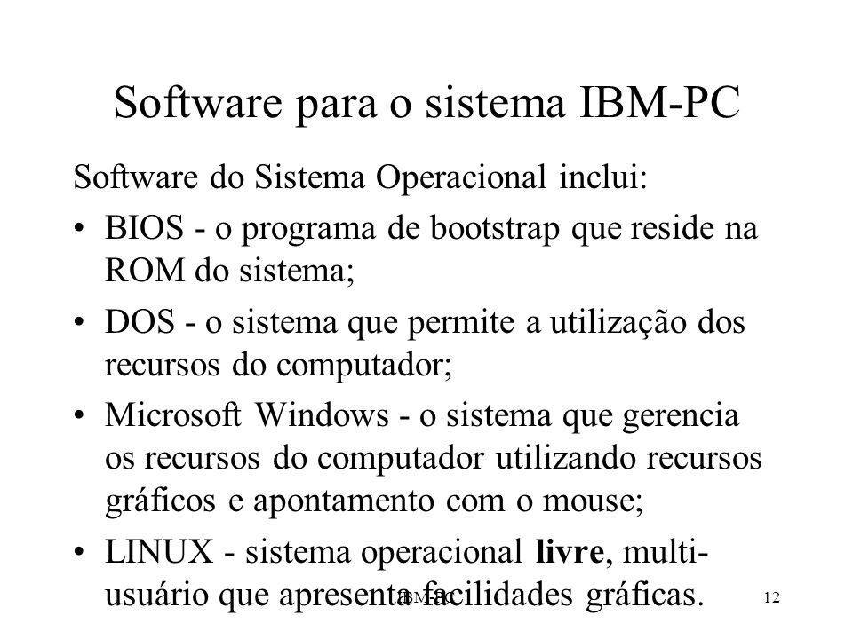 Software para o sistema IBM-PC