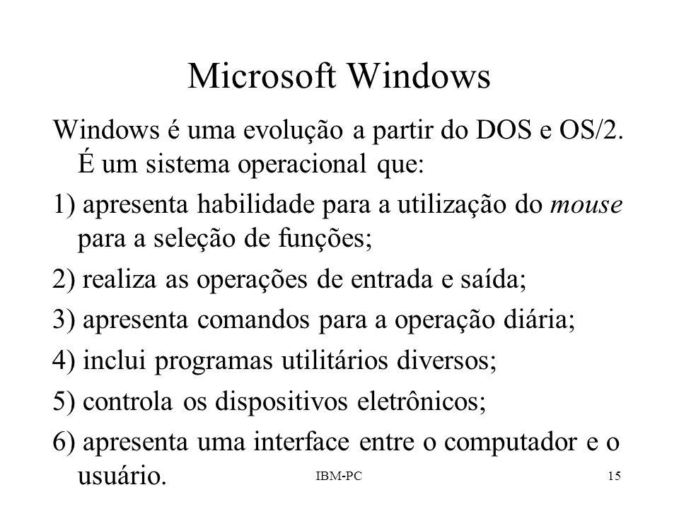 Microsoft Windows Windows é uma evolução a partir do DOS e OS/2. É um sistema operacional que: