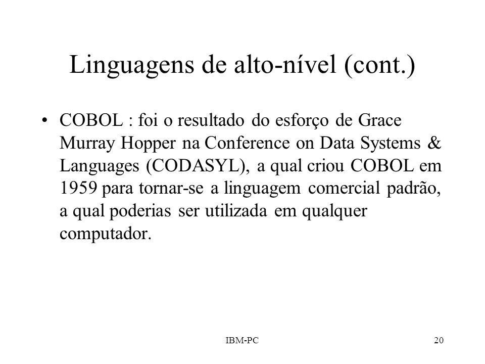 Linguagens de alto-nível (cont.)