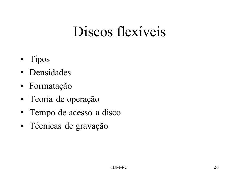 Discos flexíveis Tipos Densidades Formatação Teoria de operação