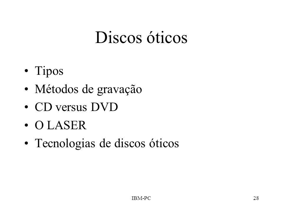 Discos óticos Tipos Métodos de gravação CD versus DVD O LASER