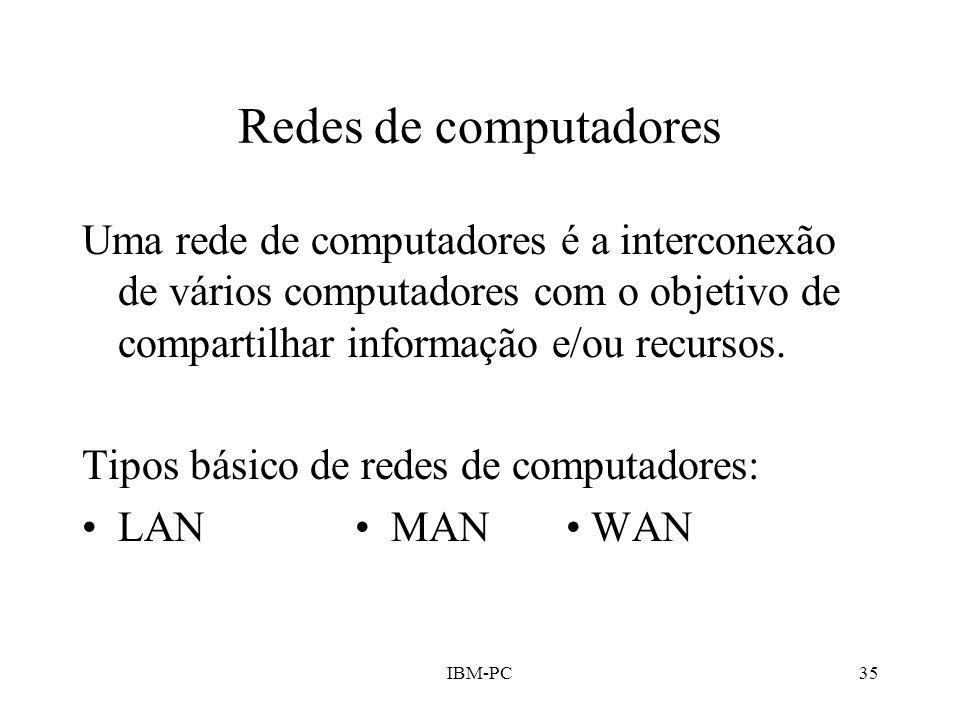 Redes de computadores Uma rede de computadores é a interconexão de vários computadores com o objetivo de compartilhar informação e/ou recursos.