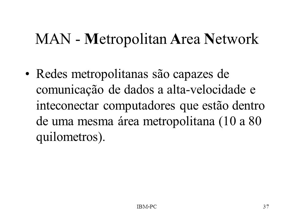 MAN - Metropolitan Area Network