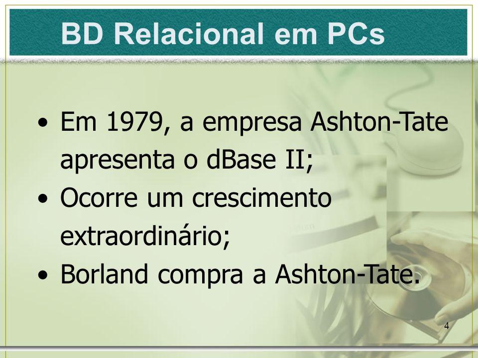 BD Relacional em PCs Em 1979, a empresa Ashton-Tate apresenta o dBase II; Ocorre um crescimento extraordinário;