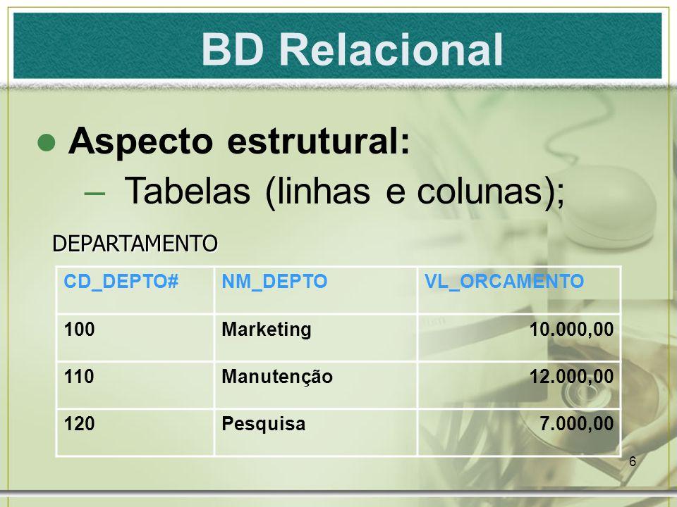 BD Relacional Aspecto estrutural: Tabelas (linhas e colunas);