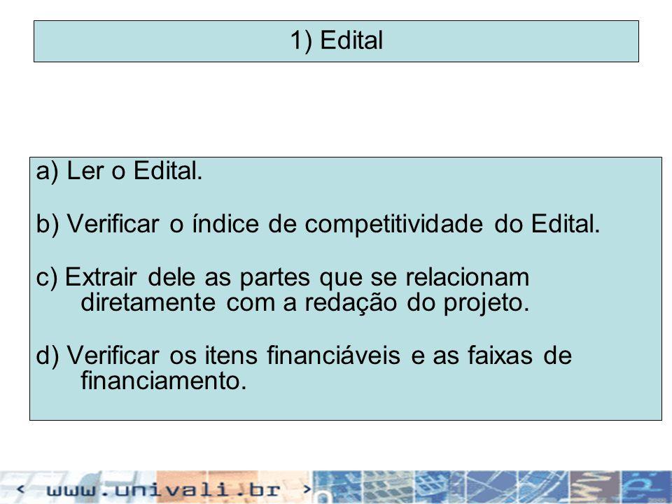 1) Edital a) Ler o Edital. b) Verificar o índice de competitividade do Edital.