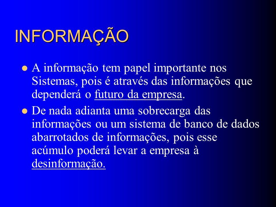 INFORMAÇÃOA informação tem papel importante nos Sistemas, pois é através das informações que dependerá o futuro da empresa.