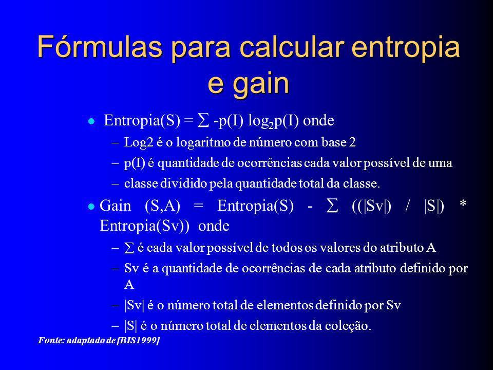 Fórmulas para calcular entropia e gain