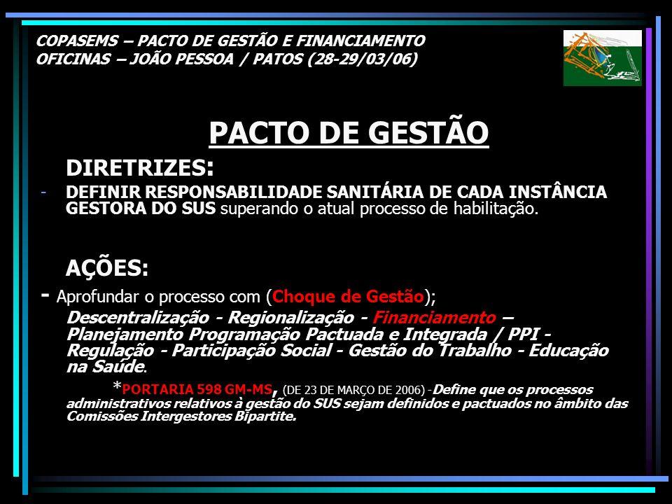 PACTO DE GESTÃO AÇÕES: - Aprofundar o processo com (Choque de Gestão);