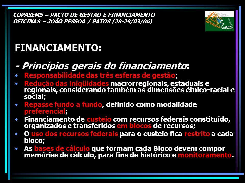 - Princípios gerais do financiamento: