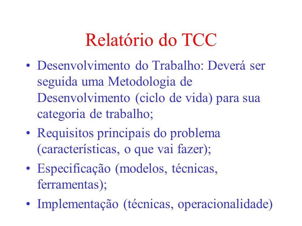 Relatório do TCCDesenvolvimento do Trabalho: Deverá ser seguida uma Metodologia de Desenvolvimento (ciclo de vida) para sua categoria de trabalho;