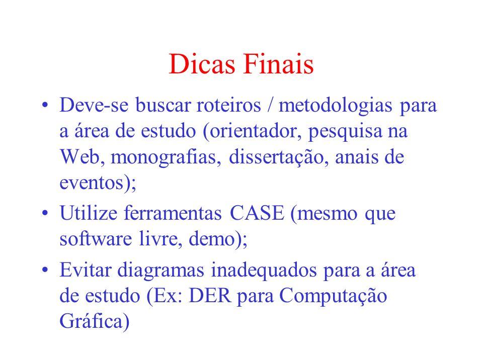 Dicas FinaisDeve-se buscar roteiros / metodologias para a área de estudo (orientador, pesquisa na Web, monografias, dissertação, anais de eventos);