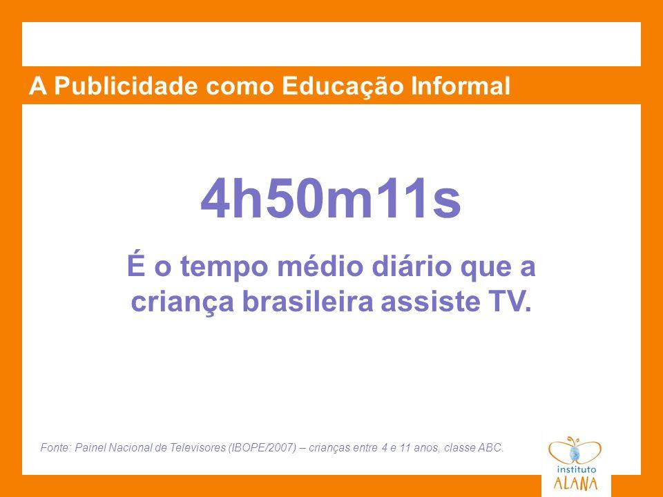 É o tempo médio diário que a criança brasileira assiste TV.