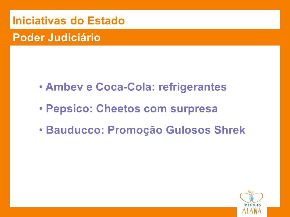 Iniciativas do Estado Poder Judiciário. Ambev e Coca-Cola: refrigerantes. Pepsico: Cheetos com surpresa.