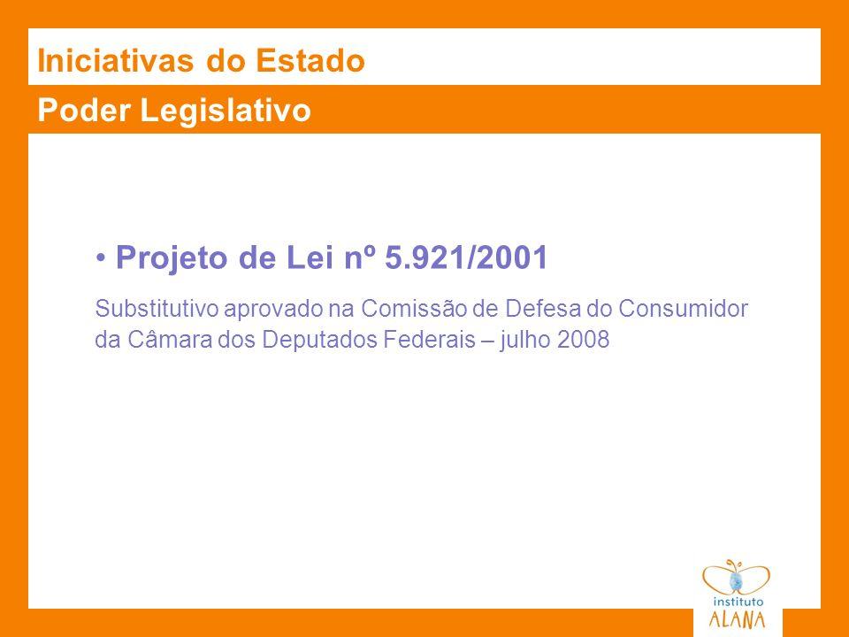 Iniciativas do Estado Poder Legislativo Projeto de Lei nº 5.921/2001