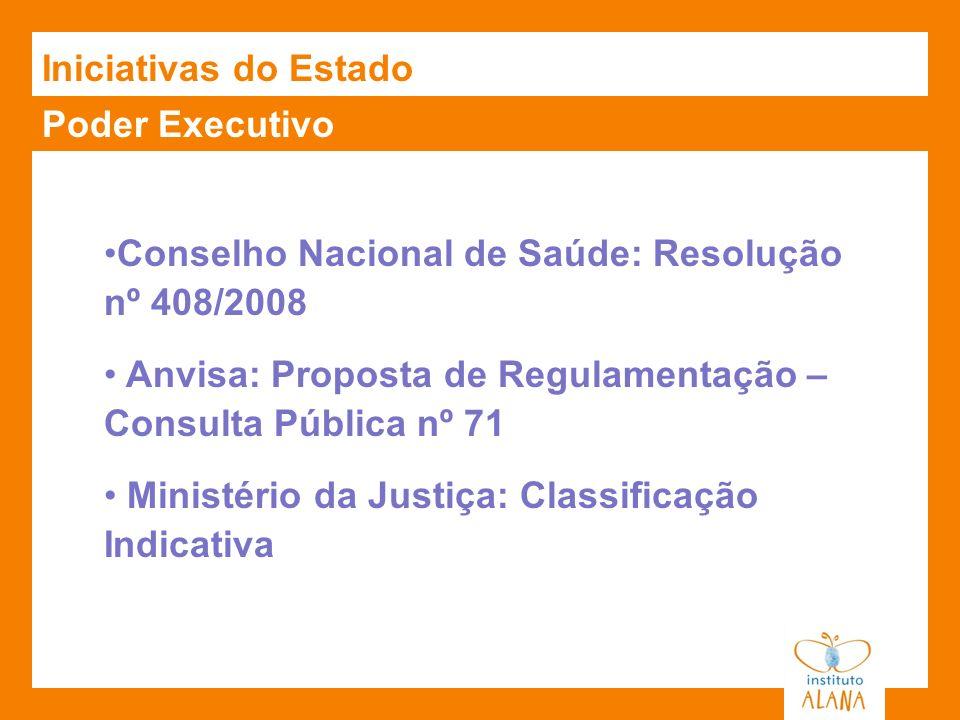 Iniciativas do EstadoPoder Executivo. Conselho Nacional de Saúde: Resolução nº 408/2008. Anvisa: Proposta de Regulamentação – Consulta Pública nº 71.