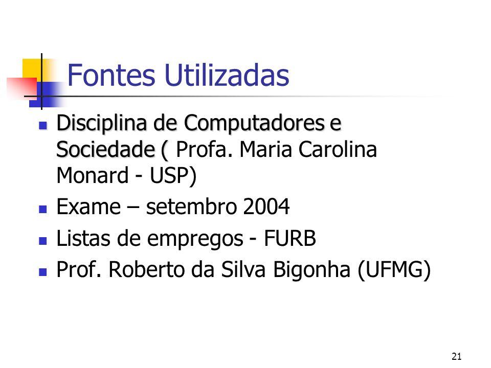 Fontes UtilizadasDisciplina de Computadores e Sociedade ( Profa. Maria Carolina Monard - USP) Exame – setembro 2004.