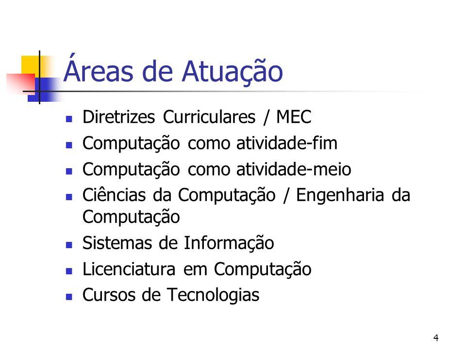 Áreas de Atuação Diretrizes Curriculares / MEC