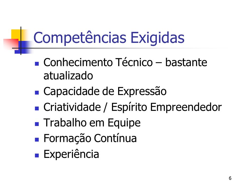 Competências Exigidas