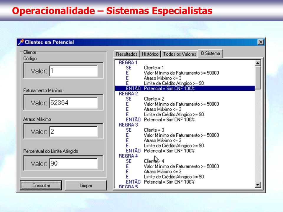 Operacionalidade – Sistemas Especialistas
