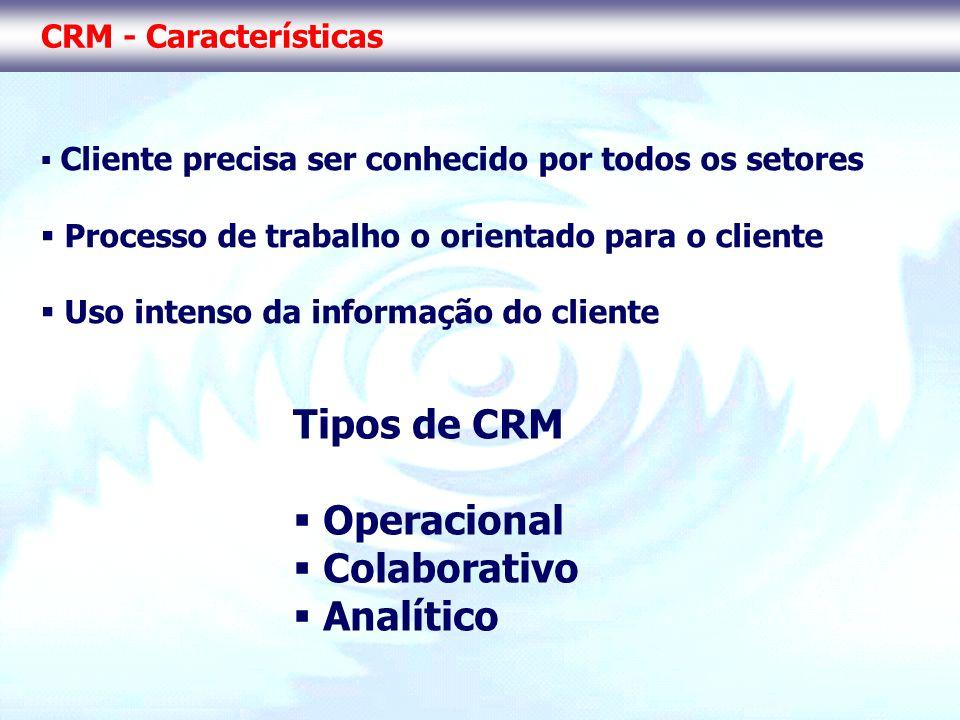 Tipos de CRM Operacional Colaborativo Analítico CRM - Características