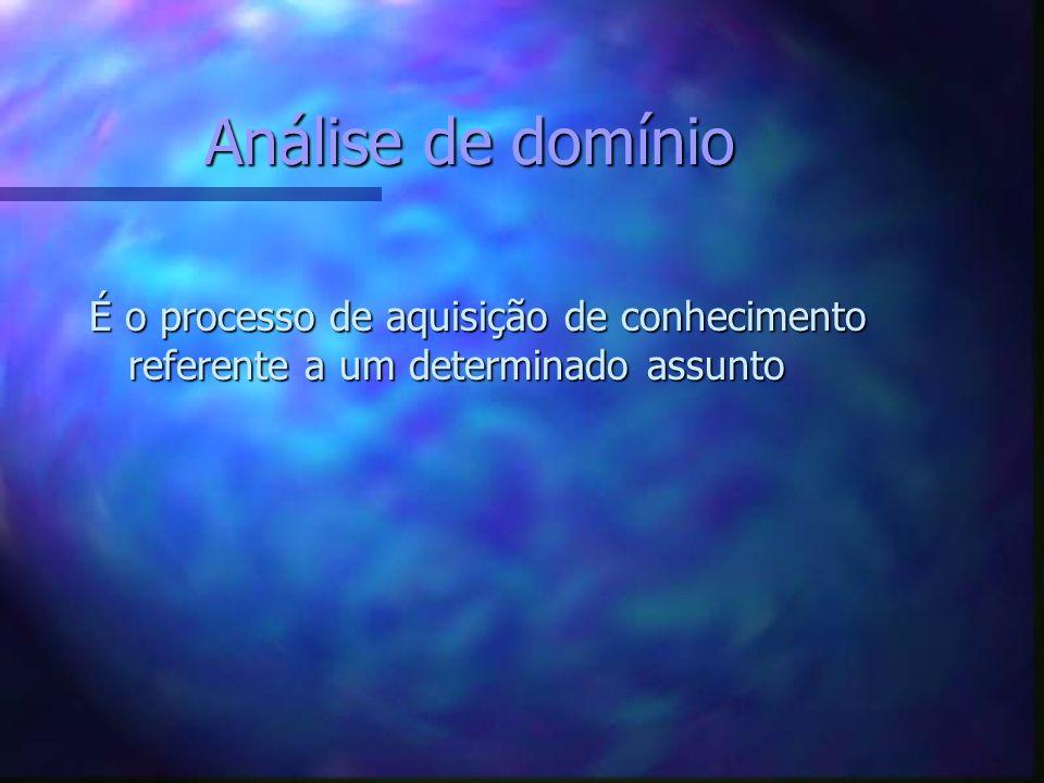 Análise de domínio É o processo de aquisição de conhecimento referente a um determinado assunto