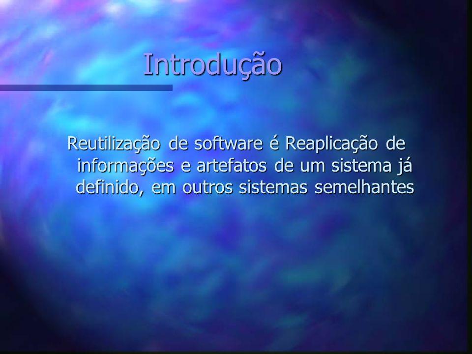 Introdução Reutilização de software é Reaplicação de informações e artefatos de um sistema já definido, em outros sistemas semelhantes.