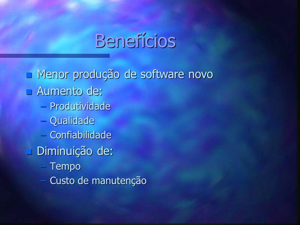 Benefícios Menor produção de software novo Aumento de: Diminuição de: