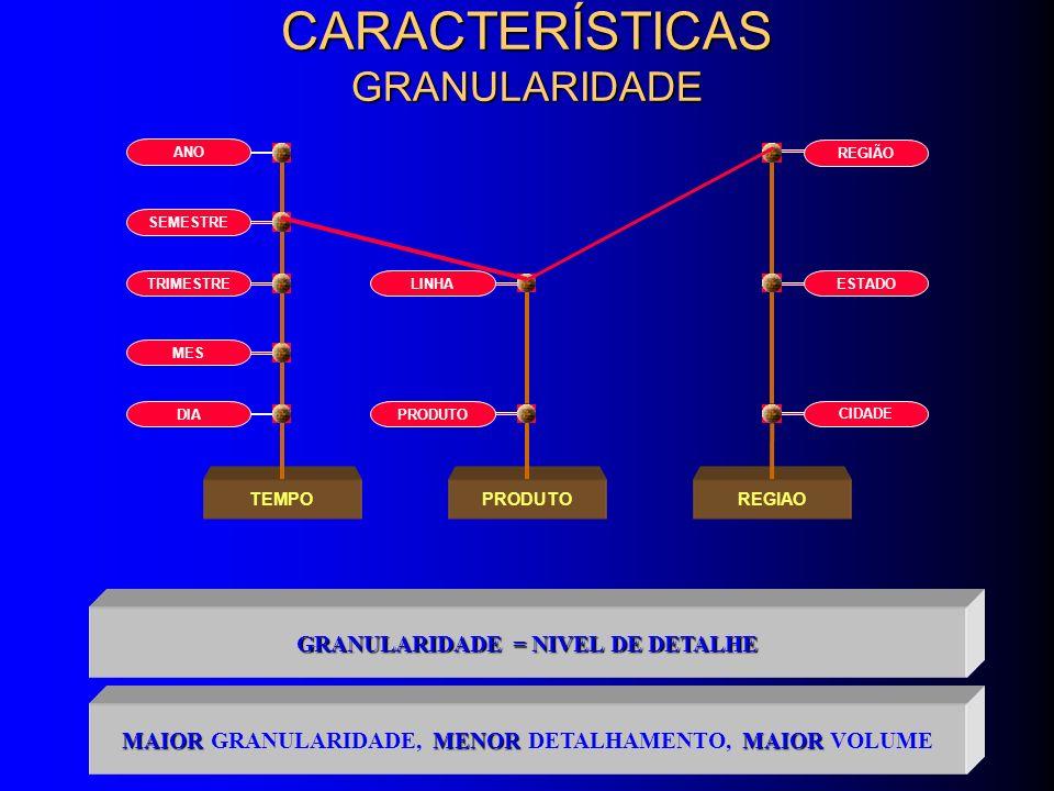 CARACTERÍSTICAS GRANULARIDADE GRANULARIDADE = NIVEL DE DETALHE