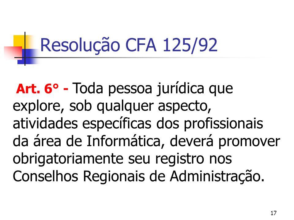 Resolução CFA 125/92