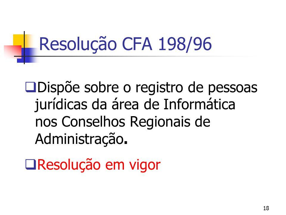 Resolução CFA 198/96 Dispõe sobre o registro de pessoas jurídicas da área de Informática nos Conselhos Regionais de Administração.