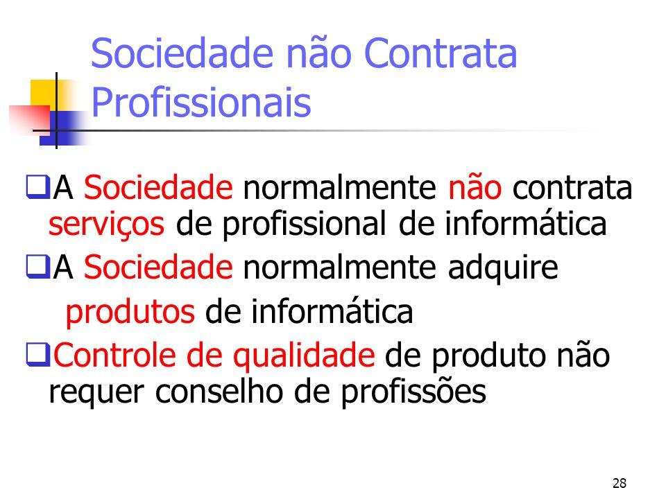 Sociedade não Contrata Profissionais